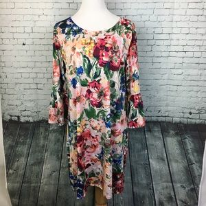 EUC Tacera Floral Dress with Bell Sleeves XL